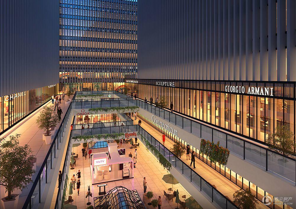 商业中庭夜景透视