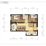 天朗玖悦都2室2厅1卫68平方米户型图