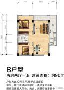 四季美农贸城潜江大市场2室2厅1卫90平方米户型图