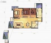 千禧河畔国际社区3室2厅1卫77平方米户型图