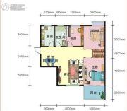 上上坊2室2厅1卫87平方米户型图