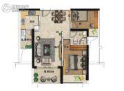 海�Z天翡2室2厅1卫87平方米户型图