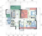 城市空间3室2厅2卫89平方米户型图