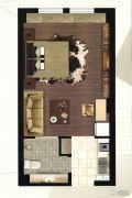 悦尚华都1室1厅1卫40平方米户型图