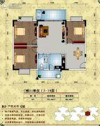 美林宏景新城3室2厅1卫103平方米户型图
