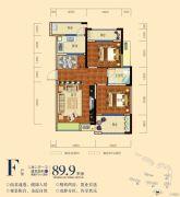 南湖颐景2室2厅1卫89平方米户型图