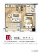 红旗景都1室1厅1卫55平方米户型图