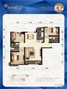 天洋城4代3室2厅2卫116平方米户型图