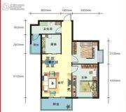 上上坊2室2厅1卫79平方米户型图