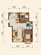 希望依山郡2室2厅2卫81平方米户型图