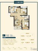 万科美景魅力之城3室2厅1卫89平方米户型图