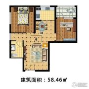 林溪湾2室2厅1卫58平方米户型图