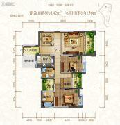 东江首府2室2厅2卫142平方米户型图