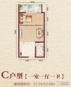 大学星城1室1厅1卫51--52平方米户型图