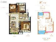 和昌悦澜3室2厅1卫89平方米户型图