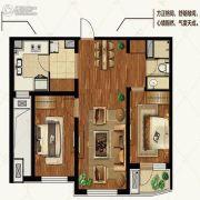 金地棕榈岛2室2厅1卫90平方米户型图
