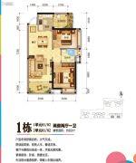 珠海奥园广场2室2厅1卫82平方米户型图