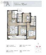 东原印未来3室2厅2卫95平方米户型图
