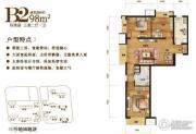 中粮万科长阳半岛3室2厅1卫98平方米户型图