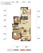 半山壹号2室2厅1卫88平方米户型图