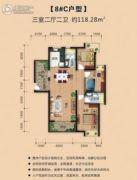 瑞丰世家3室2厅2卫118平方米户型图