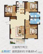 万新莱茵半岛3室2厅2卫118平方米户型图