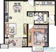 天和湖滨1室1厅1卫72平方米户型图