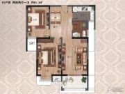 紫金华府 高层2室2厅1卫91平方米户型图