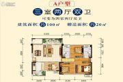 文泉・理想城邦3室2厅2卫100平方米户型图