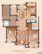 运河一品3室3厅2卫146平方米户型图