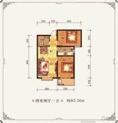 金鱼家园2室2厅1卫85平方米户型图