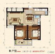 蜀山雅苑2室2厅1卫87平方米户型图