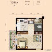 碧桂园九龙湾1室1厅1卫43平方米户型图