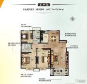 嘉洲文庭3室2厅2卫127--128平方米户型图