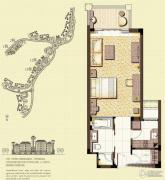 观澜湖观邸1室1厅1卫67平方米户型图
