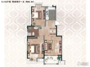 紫金华府 高层2室2厅1卫88平方米户型图