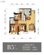 瑞升望江橡树林3室2厅2卫89平方米户型图