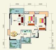南地海江南2室2厅1卫86平方米户型图