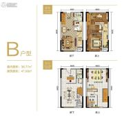 重庆黄金嘉年华1室2厅2卫36平方米户型图