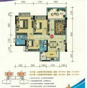 云尚四季3室2厅2卫86--89平方米户型图