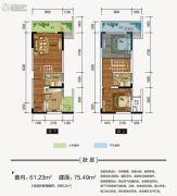 江厦星光汇2室2厅2卫61平方米户型图