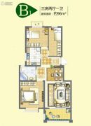 公园里3室2厅1卫96平方米户型图