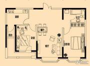 铂金首府2室2厅1卫95平方米户型图