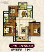 郡望府3室2厅2卫120平方米户型图