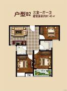 信跃盛世家园3室1厅1卫87平方米户型图