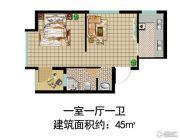 金马五区1室1厅1卫45平方米户型图