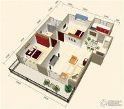 中视金海湾2室2厅1卫81平方米户型图