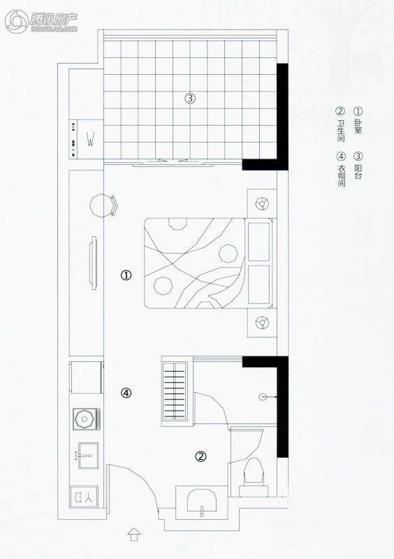 万科森林度假公园1-1户型3室2厅3卫 面积36.9㎡