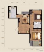 现代滏阳原著2室2厅1卫95平方米户型图