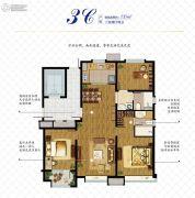 万科如园3室2厅2卫135平方米户型图